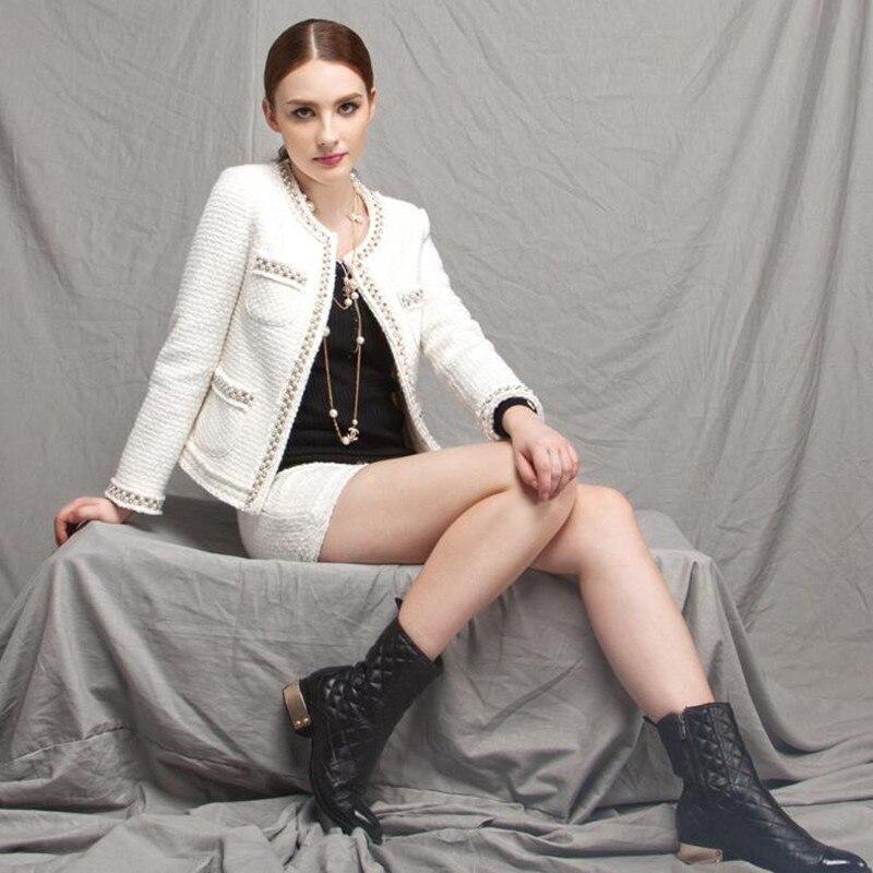 Hohe Qualität Vintage Luxus Perlen Tweed Jacke Mantel Landebahn Casaco Femme Langarm Schwarz Weiß Jacke Frauen Oberbekleidung Mäntel-in Basic Jacken aus Damenbekleidung bei  Gruppe 1