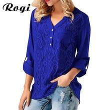 05974ef329e9f Rogi 2018 Spring Fashion Lace Office Women Blouse Casual Long Sleeve V Neck  Chiffon Shirt Tunic