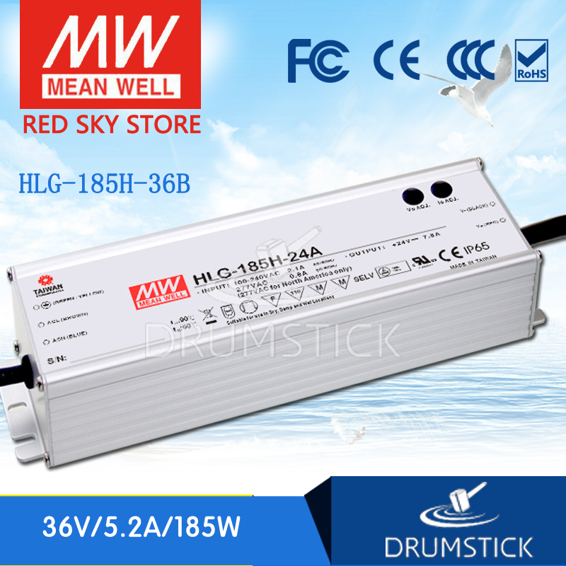 ФОТО Redsky [Hot sale] MEAN WELL HLG-185H-36B 36V 5.2A meanwell HLG-185H 187.2W Single Output LED Driver Power Supply B type