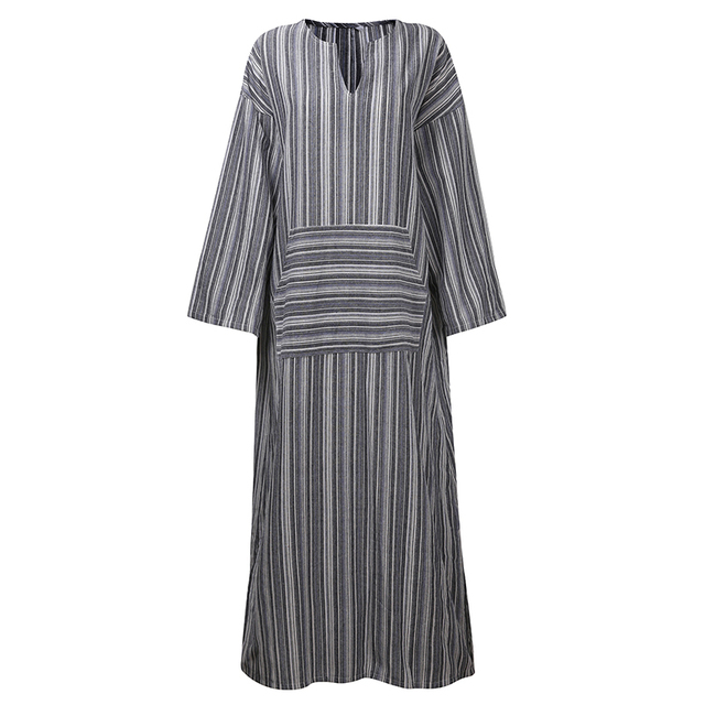 322fb90ebd Casual Retro Striped Summer Dress Women Loose Long Sleeve V Neck Dresses  Front Pocket Cotton Linen Long Dress Vestidos Plus Size