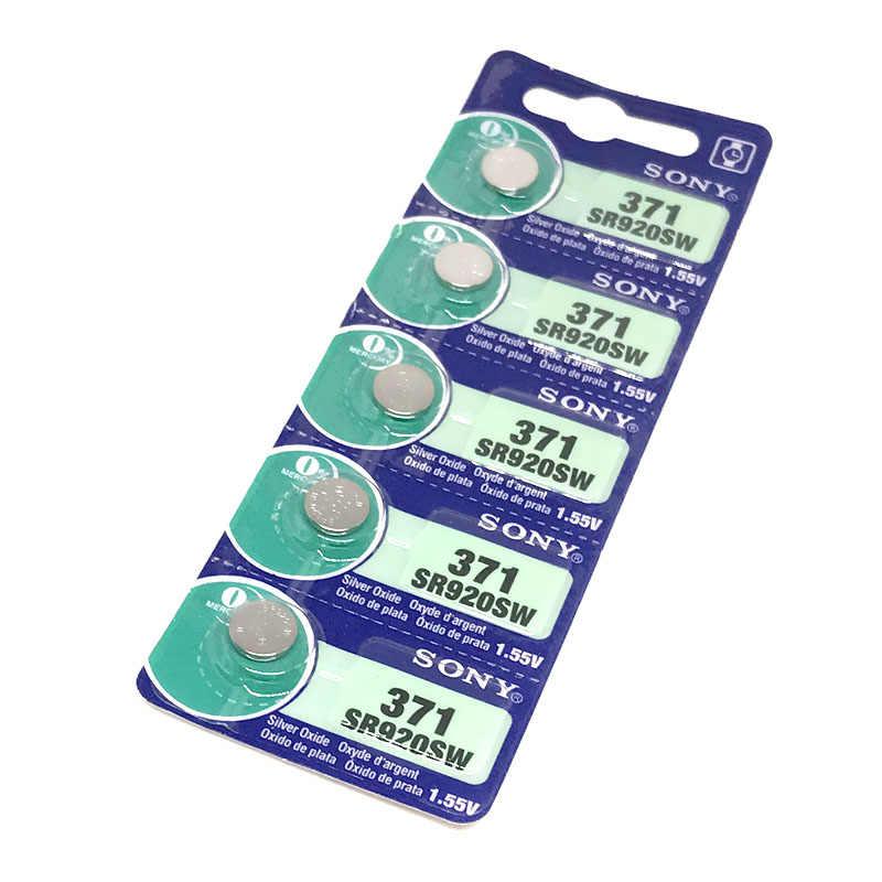 2 unids/lote sony 100% Original 371 SR920SW 920 SR920 1,55 V reloj de 371 SR920SW SR920 botón moneda celular hecho en japón 0% Hg
