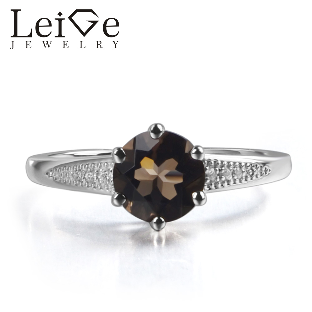 Leige Jewelry Natural Brown Color Smoky Quartz Gemstone Round Shape Prong Setting Career Rings With Stone 925 Sterling Silver