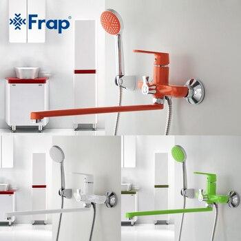 Frap 1 ensemble 350mm tuyau de sortie bain douche robinet en laiton corps surface pulvérisation peinture vert pomme de douche F2231 F2232 F2233