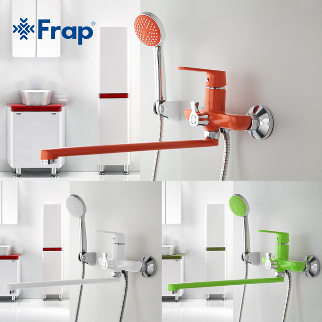 Frap 1 set 350mm Outlet pipe Bath shower faucet Brass body surface Spray painting Green shower head F2231 F2232 F2233