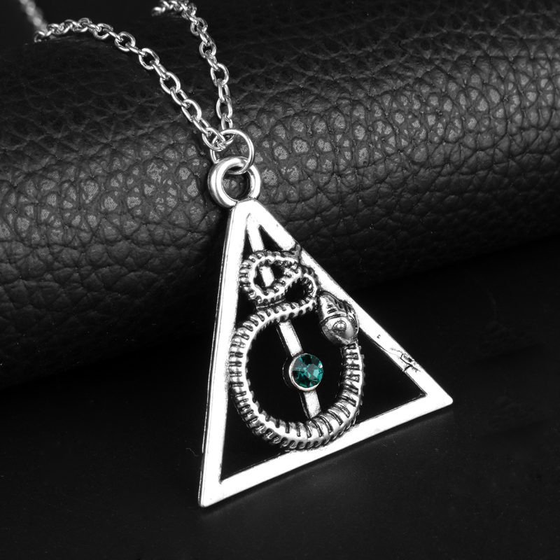 MQCHUN Hot Movie Deathly Hallows Alloy Pendent Charm <font><b>Necklace</b></font> <font><b>Hogwarts</b></font> <font><b>Necklaces</b></font> Snake Nagini Jewelry With Blue Crystal For Fans image