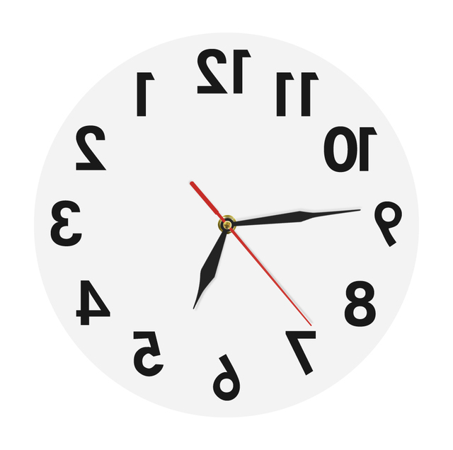 (AD) 1Piece Backwards Acrylic Wall Clock Modern Reverse Round Decorative Wall Watch Wall Clock Home Decor Contemporary Wall Art