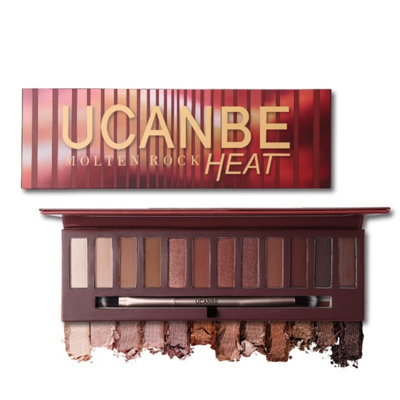 UCANBE Brand Heat Pumpkin Style Eyes Makeup 12 Color Shimmer Matte Smoky Red Brown Cosmetics Eyeshadow Palette