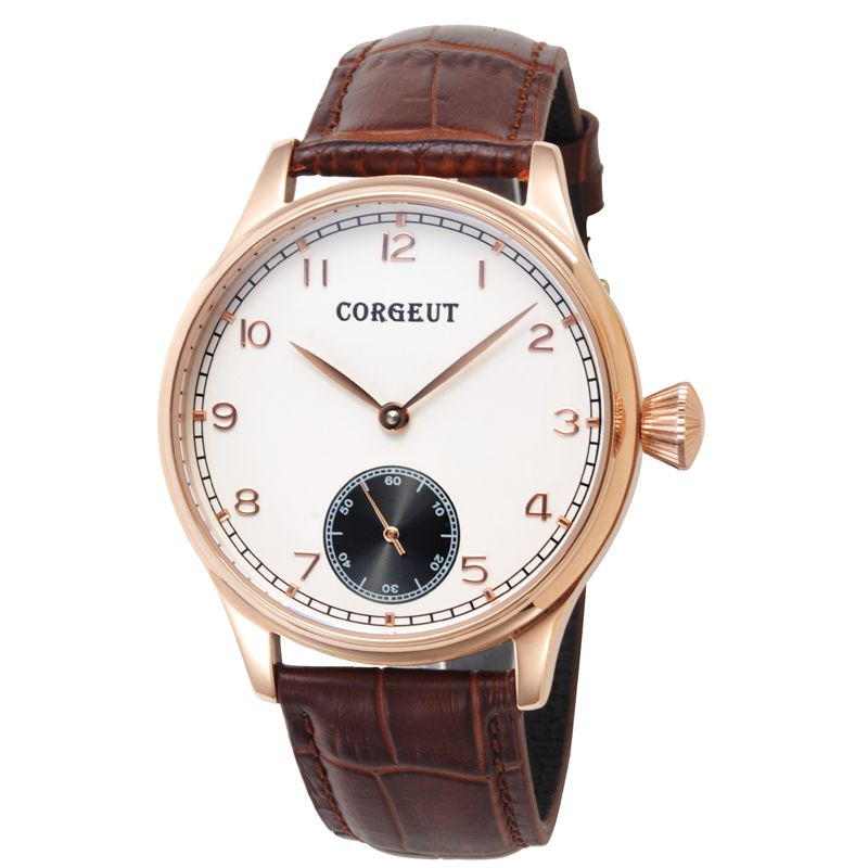 Corgeut 44mm Wristwatches Rose Gold Case White Dial coffee Leather strap Hand Winding 6498 water resistant Men Watches CM2005B corgeut 44mm wristwatches rose gold case white dial coffee leather strap hand winding 6498 water resistant men watches cm2005b