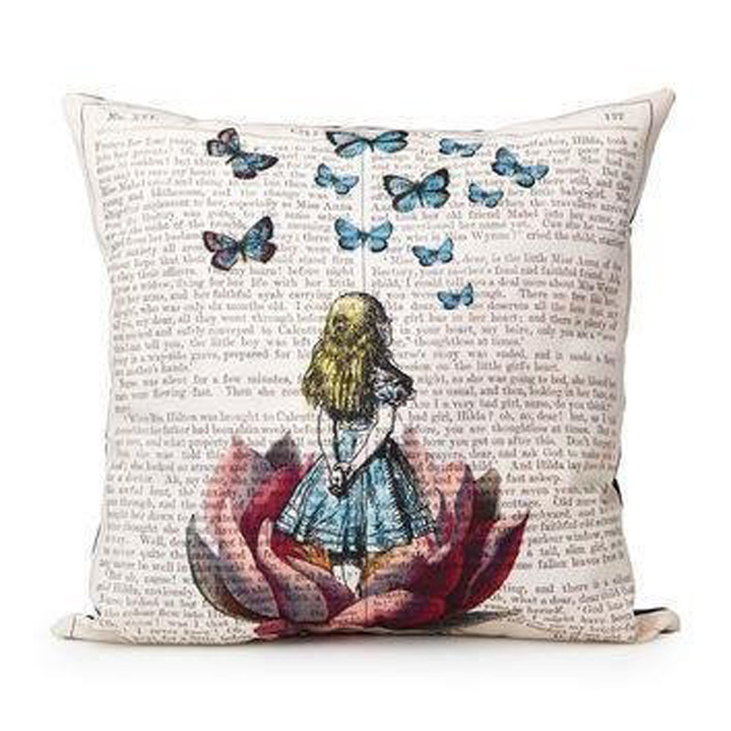 Little Girl Watching Butterflies Pillow Case Linen Pillowcase Custom Little Girl Decorative Pillows