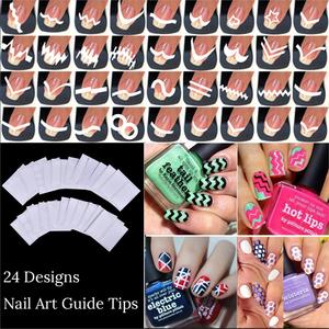 Image 1 - New Fashion 24 Sheets/Set French Style Nail Manicure DIY Nail Art Tips Guides Nail Art Stickers Stencil Strip
