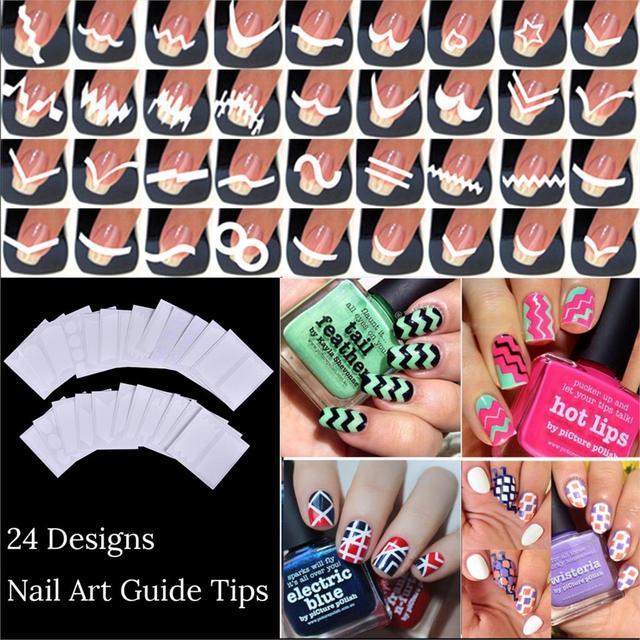 New Fashion 24 Sheets/Set French Style Nail Manicure DIY Nail Art Tips Guides Nail Art Stickers Stencil Strip