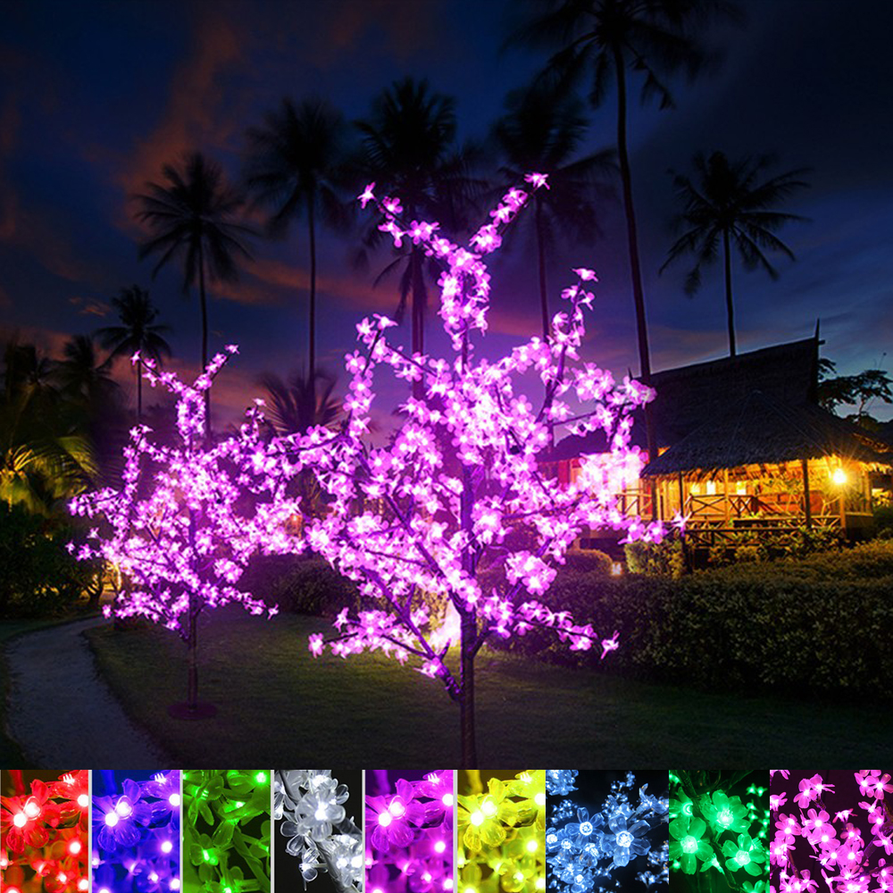 Xmas светодио дный Cherry Blossom дерево света 0,8 м 1,2 м 1,5 м 1,8 м Новый год Свадьба Luminaria декоративные ветви дерева лампы наружного освещения
