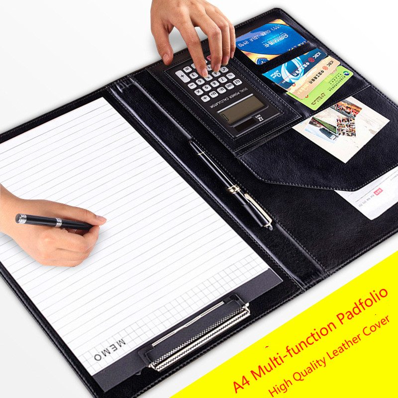 A4 Leather Folder Padfolio Multi-function Office Organizer Planner Notebook School Office Padfolio Folder for Documents HJW302 a4 5 cheap clipboard padfolio multi function filling products folder for documents school office supplies organizer portfolio