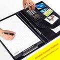 A4 PU Lederen Bindmiddel Bestand Map Notebook Manager Luxe Document Organizer Bag Zwarte Aktetas Padfolio Tas