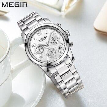 MEGIR Простые Модные кварцевые Хронограф Спортивные Женские часы лучший бренд роскошные серебряные женские наручные часы из нержавеющей ста... >> MEGIR Factory Store