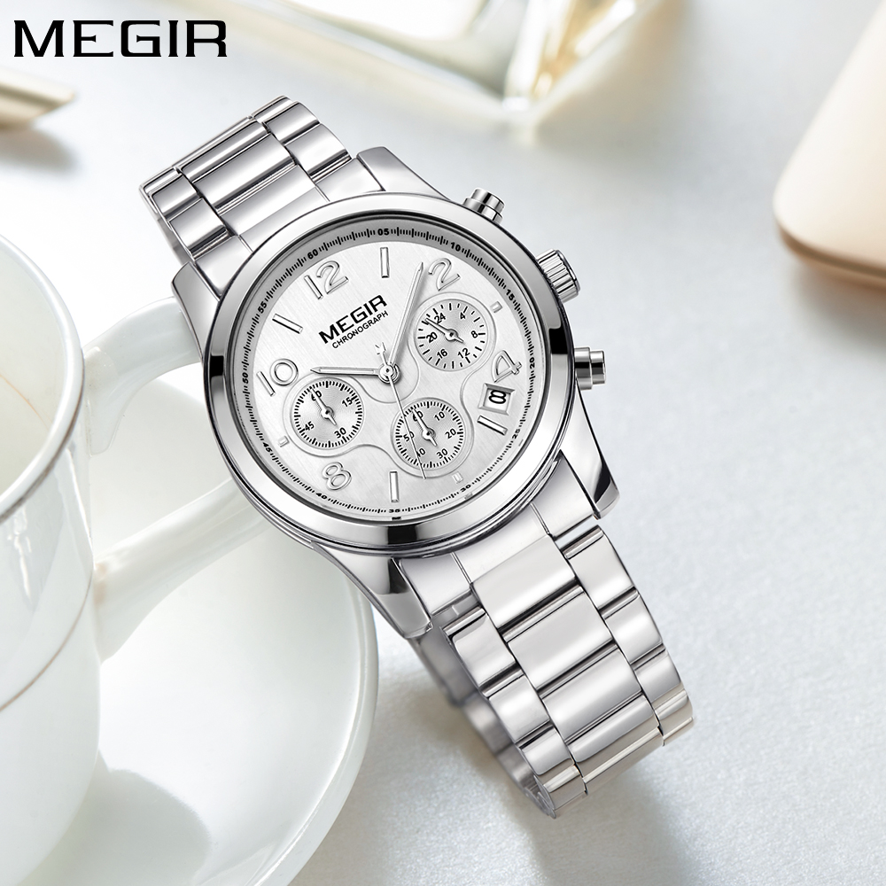 MEGIR Simple Fashion Quartz Chronograph Sport Women Watch Top Brand Luxury Silver Stainless Steel Women's Wrist Watches Ladies