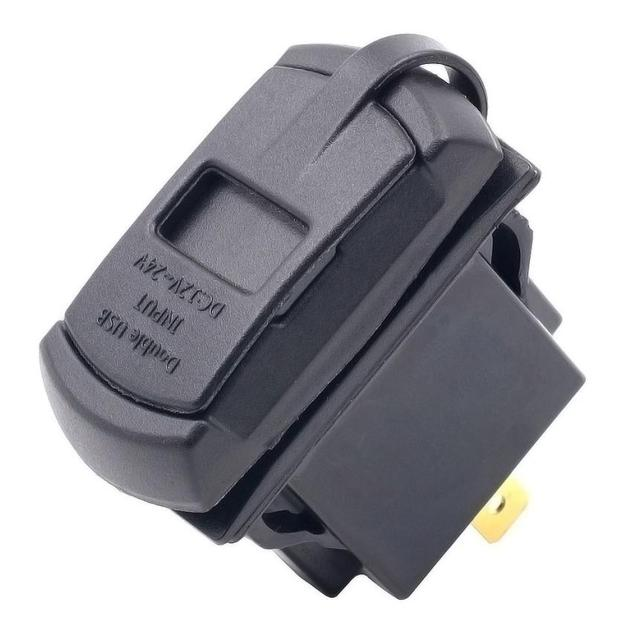 12 V Cargador de Doble Puerto USB Socket Voltaje Voltímetro Panel Rocker Switch Barco Coche @ 21104