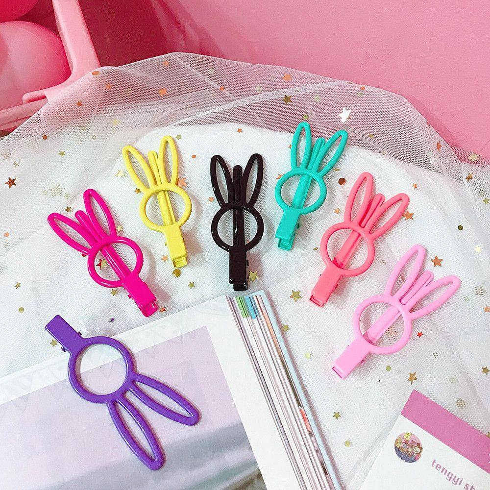Candy Color Solid Hair Clips For Women Girls' Hairpin Bunny Rabbit Ear Barrettes For Kids Hair Accessories New Arrival