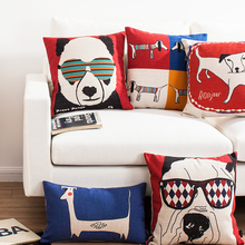 Mediterranean Home Decorative Cartoon Animal park pattern 3745 Pillow Case Sofa Chair Waist Pillow cover Linen Cushion Cover