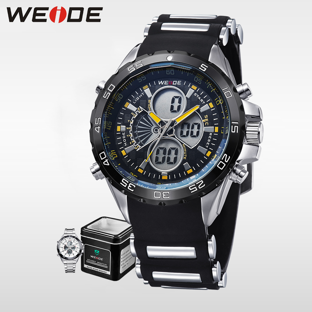 все цены на WEIDE Luxury Brand genuine Men sport Watches LCD Japan Quartz Movement Silicone Strap Waterproof Army clock bracelet watches онлайн