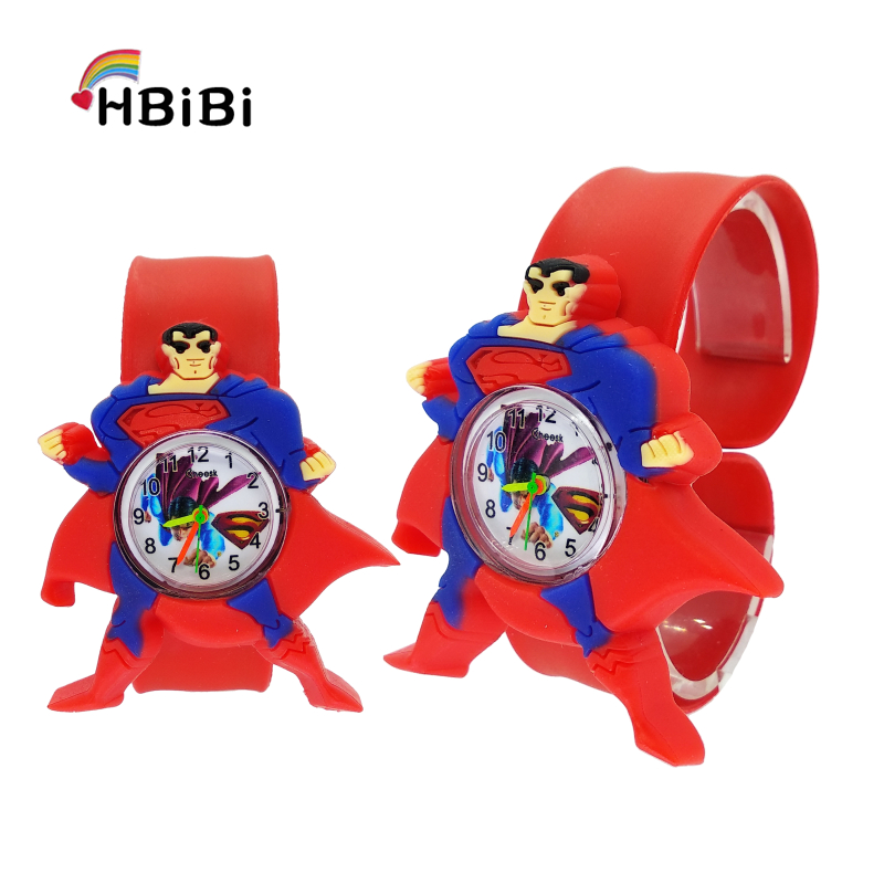 3D Superman Children Fashion Watches Quartz Wristwatches Waterproof Jelly Kids Clock Boys Girls Students Clock Relogio Kol Saati