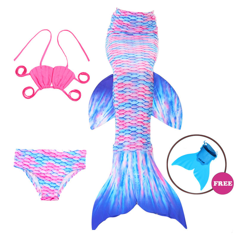 NEW Baby Girls Summer Beach Mermaid Tail with Monofin Swimmable Kids Mermaid Cosplay Costume Bikini Set Swimsuit Flipper