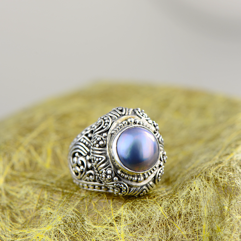 Real Pure Sterling Silver Ring 925 Pearl For Women Vintage Antique Rings Hollow Design Large Natural Gemstone Fine JewelleryReal Pure Sterling Silver Ring 925 Pearl For Women Vintage Antique Rings Hollow Design Large Natural Gemstone Fine Jewellery