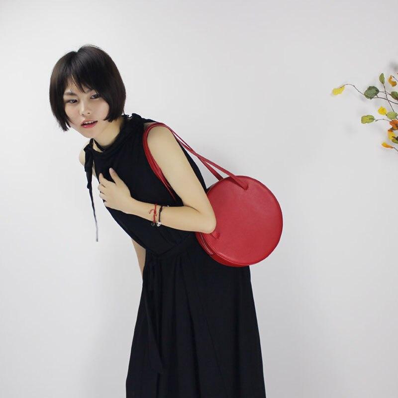 Sac rond en cuir de bovin véritable pour femme 2019 nouveau sac à main de couleur pure mode sac à bandoulière unique sac rétro mini c392 - 6