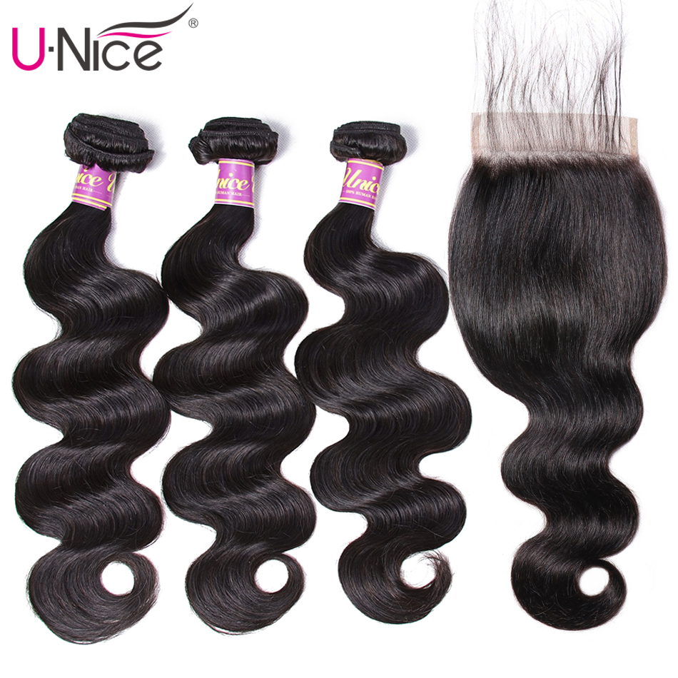Image 2 - UNICE Hair Body Wave Bundles With 5X5 Closure Brazilian Hair Weave 3 Bundles With Closure 100% Human Hair Bundles 4PCS-in 3/4 Bundles with Closure from Hair Extensions & Wigs