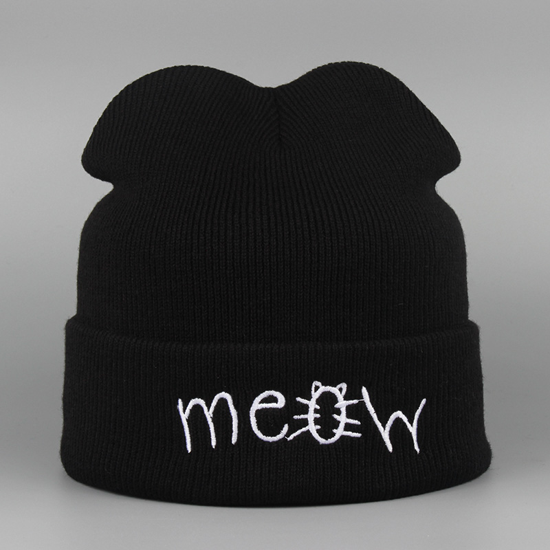 Winter Hat MEOW Warm Sport Beanies Knit Hats For Women Knitted Ski Skullies Men Wool Caps De Inverno Gorros Bonnets Cappelli mengpipi womens letters knitted hats winter glass sequins beanie hat cap chapeu gorros de lana touca casquette cappelli bonnets