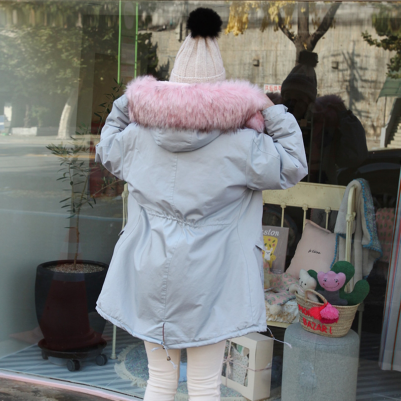Faux Ciel Taille Fourrure De Coton Col Épaississent Bas 2018 Vers Vêtements Réglable Femelle Le Renard Mince Manteau D'hiver Femmes Veste Parka Pu Mode HE2D9WI