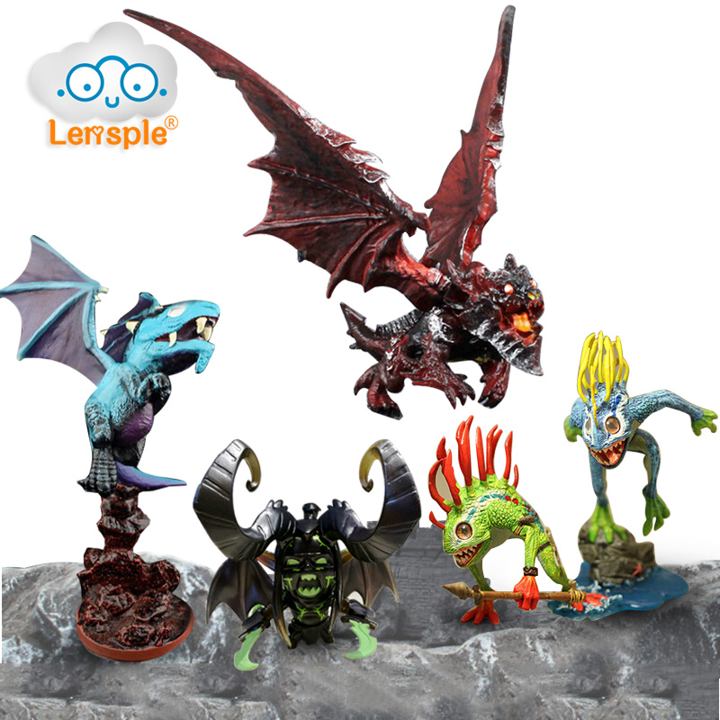 Lensple WOW Dota2 Deathwing Fish Warriors Dark Illidan Blue Dragon Action Figure Gifts Collection Decor Model Toy Gifts For Kids vik max adult kids dark blue leather figure skate shoes with aluminium alloy frame and stainless steel ice blade