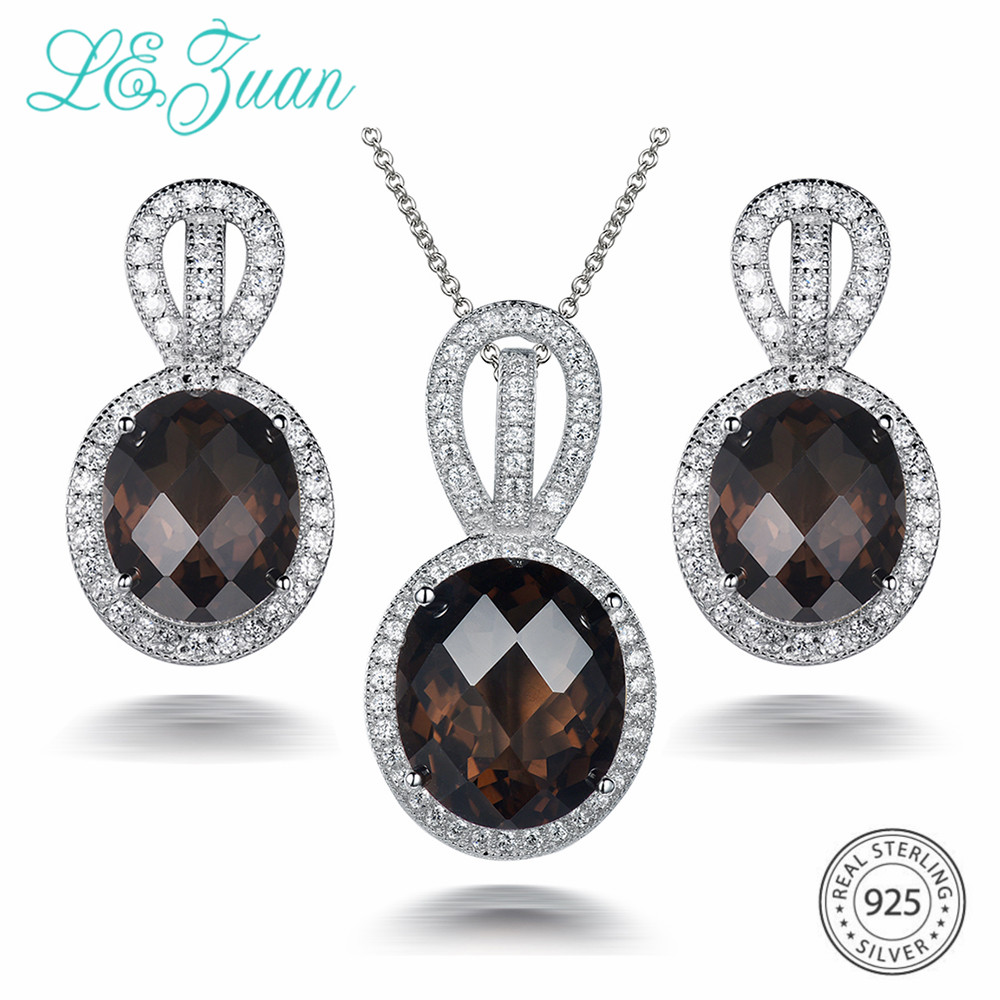 L&zuan 17.78ct Natural Smoky Quartz Jewelry Set In 925 Sterling Silver Earrings/pendant Oval Cut Brown Stones Woman Fine Jewelry Volume Large Fine Jewelry Jewelry Sets