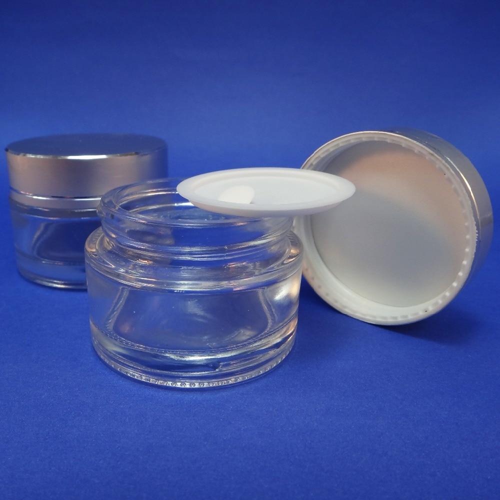 50 Bulk Aluminum Plastic Lid 1 Oz Packaging Clear Glass Makeup Cream