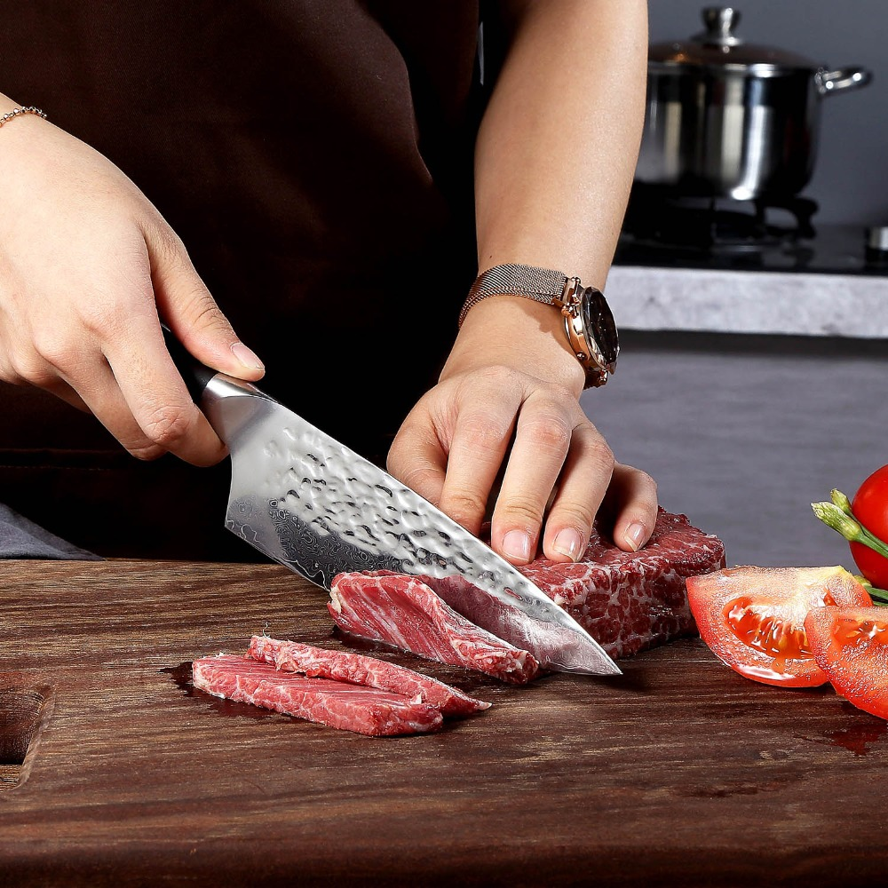 SUNNECKO 6 5 quot Damascus Chef Knife Japanese AUS 10 Core Steel Hammer Blade Razor Sharp Kitchen Knives Meat Vegetable Slicing Cut in Kitchen Knives from Home amp Garden