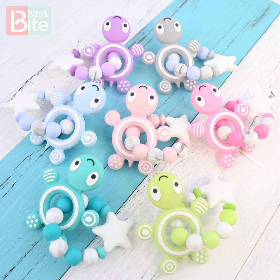 Bite Bites 1PC Silicone Baby Teether Turtle Bracelet Food Grade Silicone Care