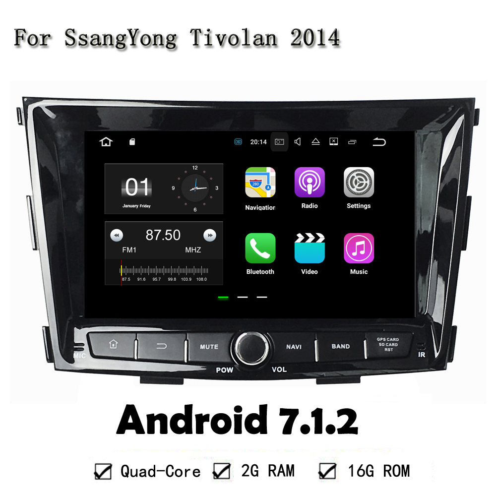 8 Inches HD 1024*600 Quad Core 2GB RAM 16GB ROM Android 7.1.2 Car PC Tablet GPS Navi Radio Head Unit For SsangYong Tivolan 2014