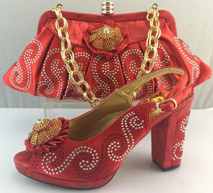 En amarillo Decorado Conjunto Las Llegada Mujeres Nueva Zapato rojo Con Y Bolsa Fijados Rosa Rosado Zapatos Para Color Italia Partido Bolso Africanos De Appliques El TR8Sq