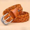 Дамы плетеные кожаные ремни пряжки Корейский Ретро Кожаный Плетеный Пояс иглы слоя декоративной молодежная мода ремни