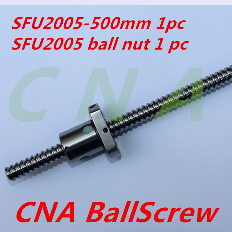 1PC SFU2005 600mm Ball Screw Rolled ballscrew SFU2005 with single flange ballnut for CNC part tbi ball screw 2005 c7 1000mm with 5mm lead without flange ballnut bsh2005 for cnc kit backlash
