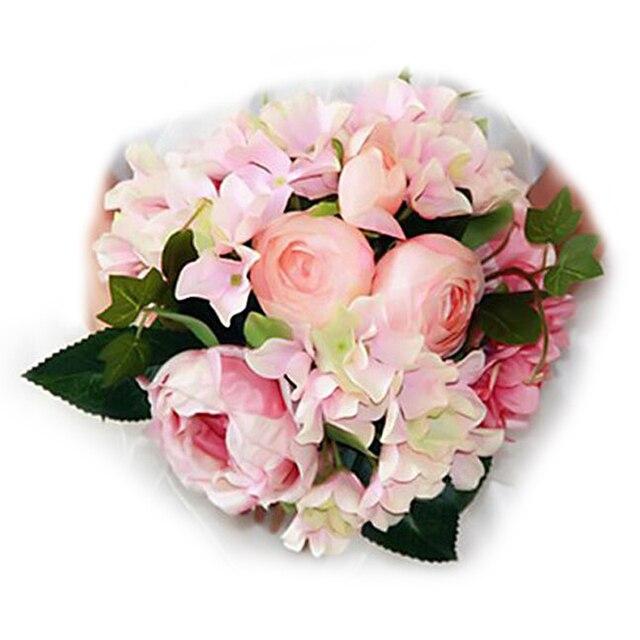 Simulation Rose Hydrangea Bouquet De Mariage Silk Flower Wedding Bouquet  Roses Artificial Flowers With Vivid Fake