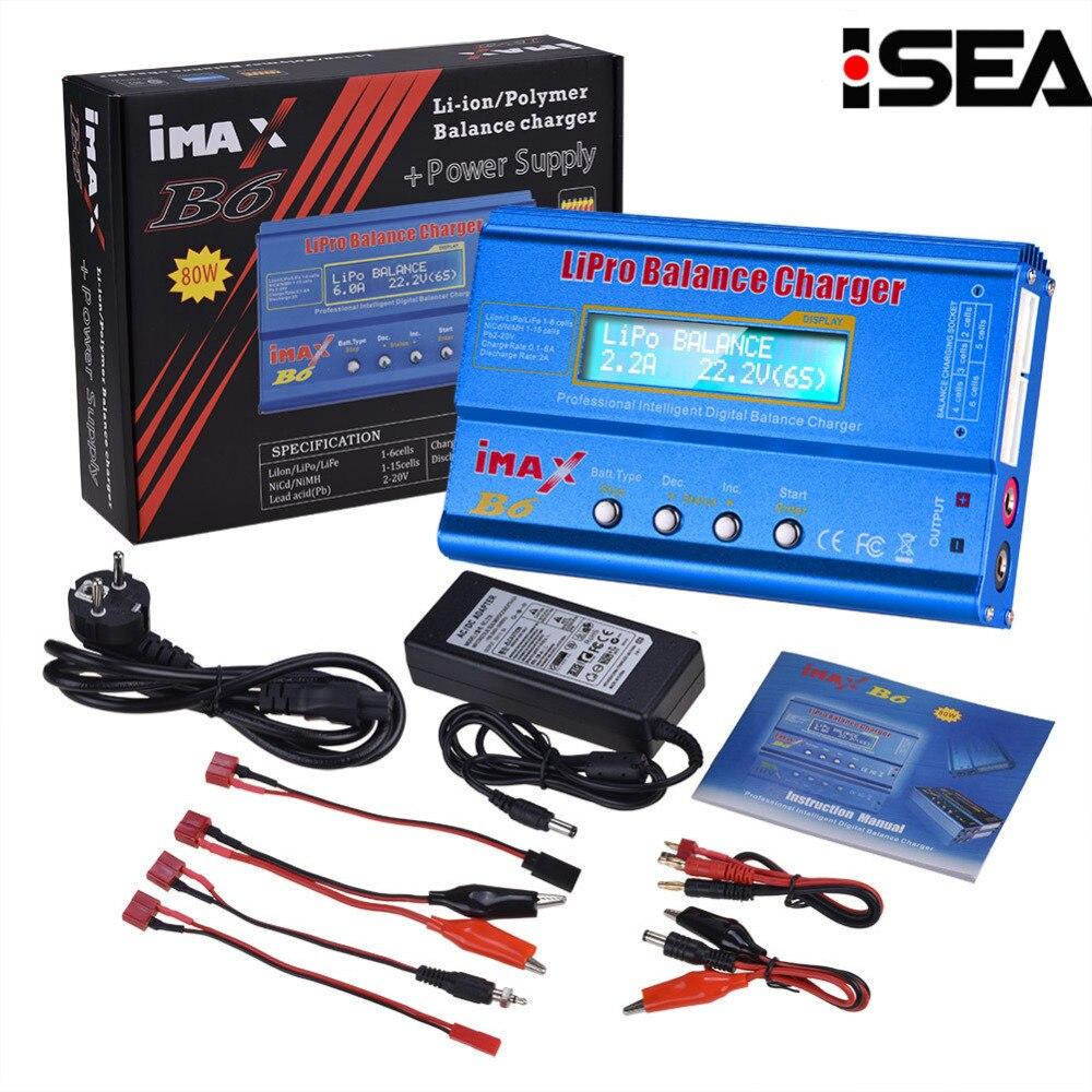 Venta caliente HTRC iMAX B6 80 W 6A cargador de batería Lipo NiMh Li-Ion Ni-Cd Digital RC Balance cargador Discharger + 15 V 6A adaptador