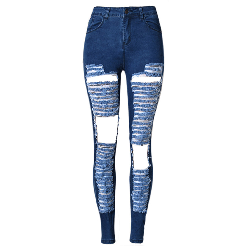 2016 Women High Waist Jeans Plus Size Hole Jean Overall China Online Store Nice Denim Pants ...