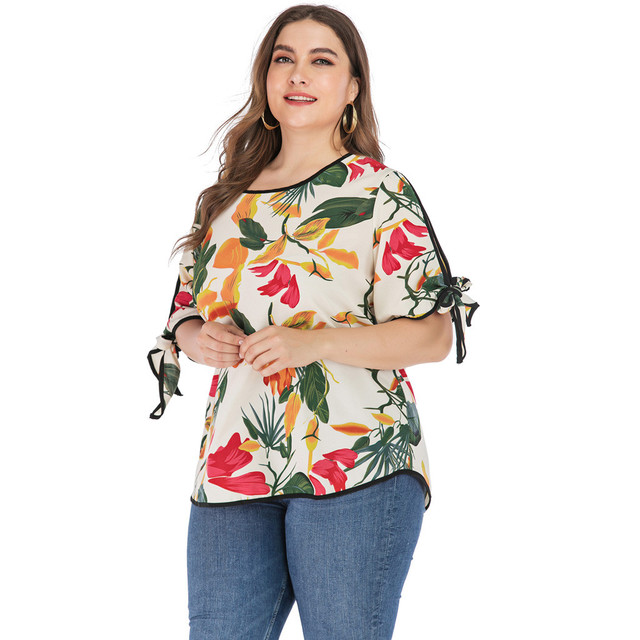 Tops Plus Size Print Leaves...
