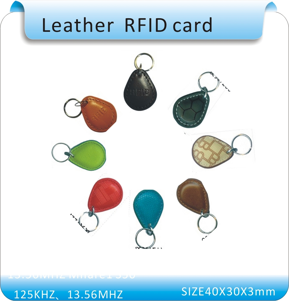 100pcs leather 125KHZ working frequency EM4100  chip ID CRD Keyfob Tag /IDTime Attendance and Access Control Card