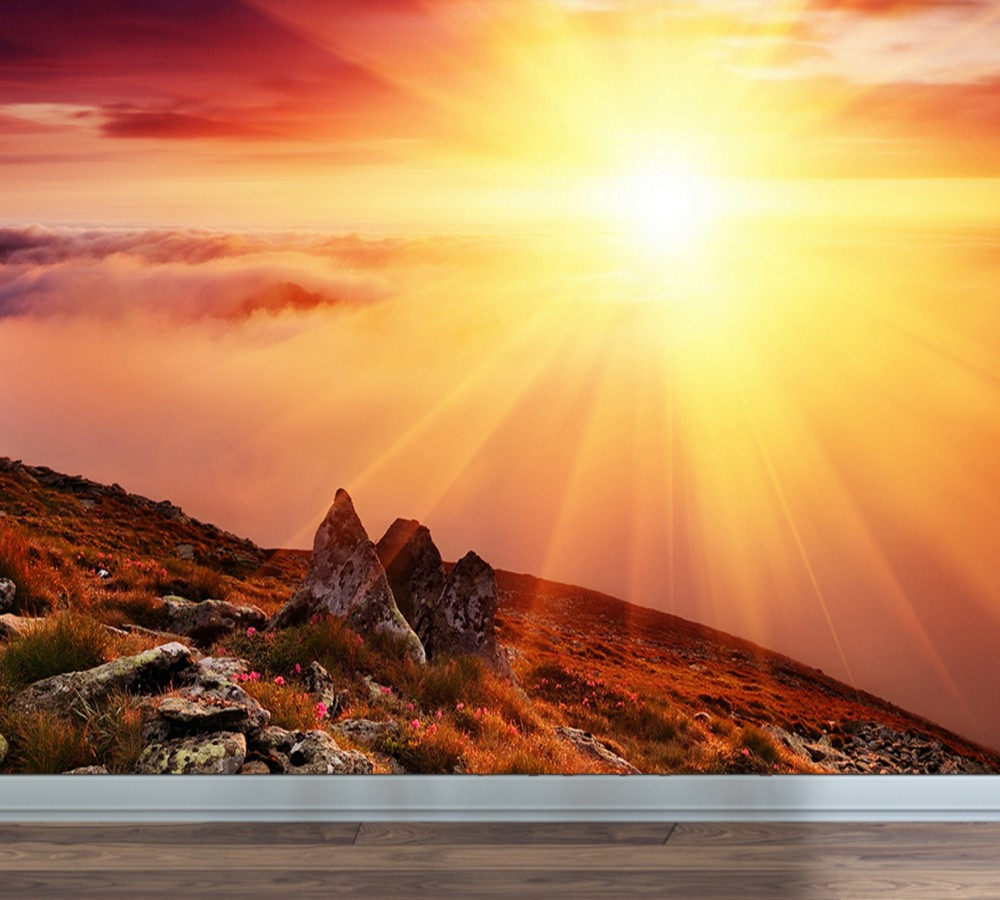 Free Shipping Custom Wallpaper Sunrise Sun Dazzling Background Wall ...