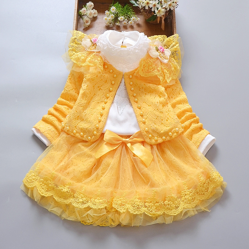1-8 Years Lovely Kids Girls Clothing Sets 3pcs Short Outwear Jacket+Long Sleeve Shirt+Skirts New Autumn Toddler Girls Suits B333