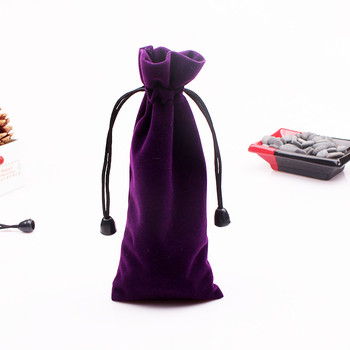 Wholesale 100pcs 7.5x18cm Purple Velvet Bag Jewelry Gift Package Bag Cosmetic Christmas Boutique Packaging Velvet Gift  Pouches