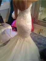 2017 Backless Mermaid Wedding Dresses Sexy Lace Appliqued Beaded Wedding Gowns Spaghetti Straps Custom Made Robe
