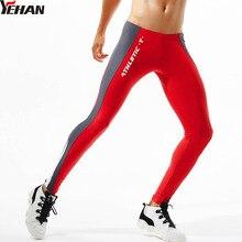Yehan колготки для бега мужские высокие эластичные Компрессионные Леггинсы боковая Лоскутная Спортивная одежда для йоги брюки с низкой посадкой для фитнеса сексуальные для спортзала